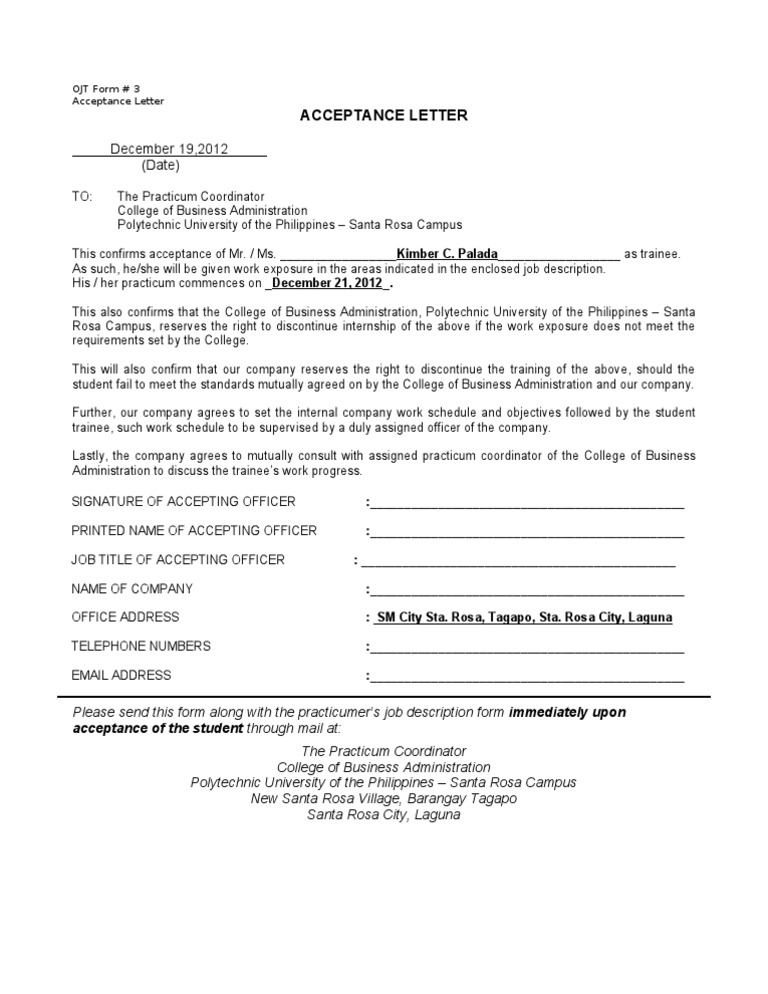 example of industrial training application letter