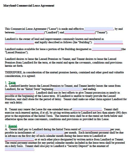 commercial lease application word doc