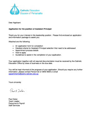 assistant principal application example nsw
