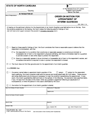 application for appointment of guardian