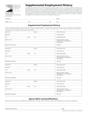 employment history on application forms