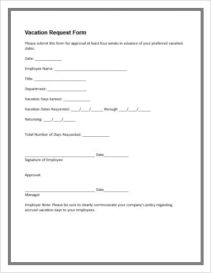 leave application form format for office