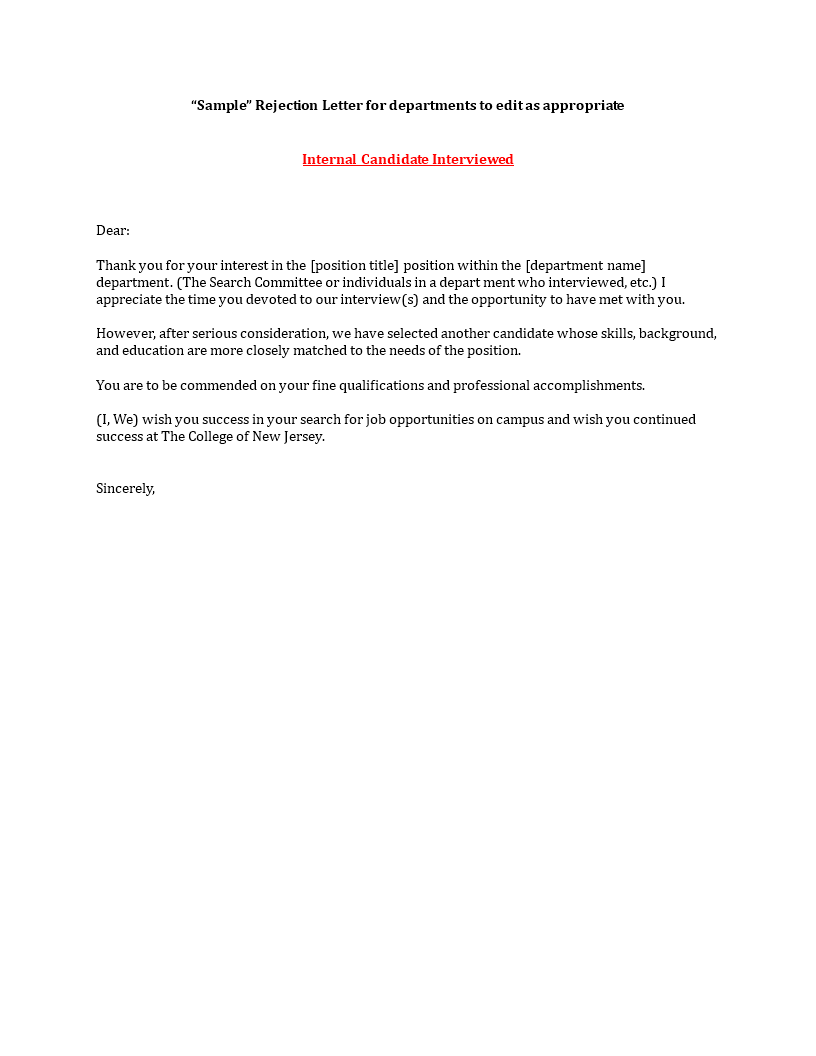 job applicant rejection letter after interview